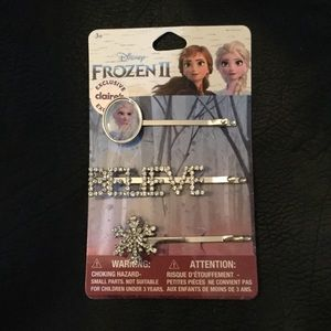 DISNEY FROZEN 'BELIEVE' CRYSTAL BOBBY PIN HAIR NWT